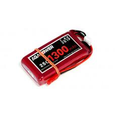 Аккумулятор AGA POWER Li-Po 1300mAh 7.4V 2S 25C Softcase 15x35x68мм JST